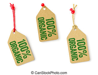 Collection of tags with the text 100% Organic
