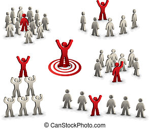 collection of target person 3d vector illustrations