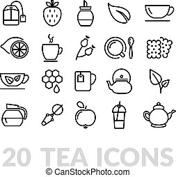 collection of tea line icons