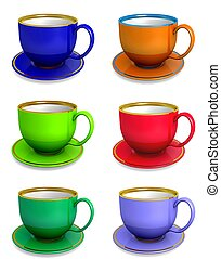 Collection of teacups on the white background, 3d...