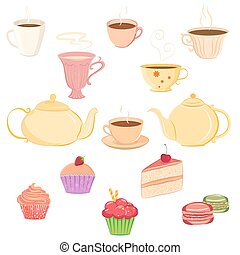 Collection of teacups, teapots and sweets