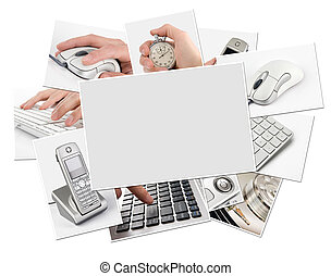 collection of technology photos with blank frame