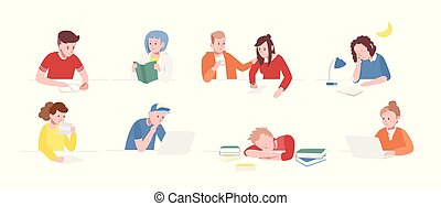 Collection of teenage boys and girls sitting at desks with laptops, reading books, writing, sleeping. Set of school children or students preparing for exams. Flat cartoon vector illustration.