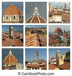 collection of terracotta roofs in Florence