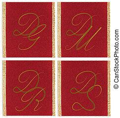 Collection of textile monograms design on a ribbon. DG, DM,...