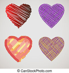 Collection of textured hearts. Vector eps10