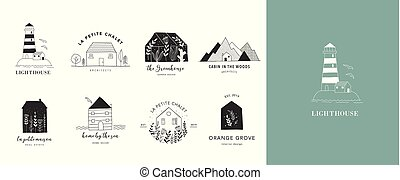 Collection of the hand drawn home, house logos, icons,...