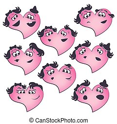 Collection of the heart shapes with different their parts facial emotions.