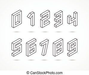 Collection of the isometric numbers 3d illustration