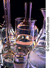 collection of the laboratory glassware