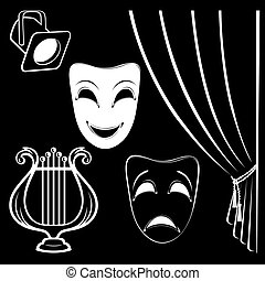 Collection of theatrical characters on black background