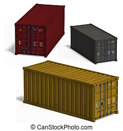 collection of three container With Clipping Path over white