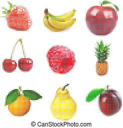 Collection of tiled fruits