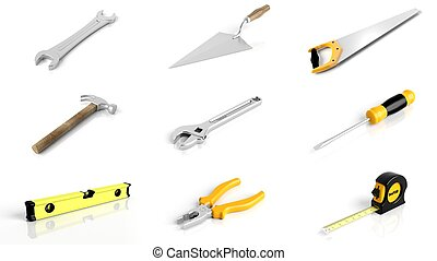 Collection of tools isolated on white background