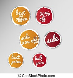 torn paper sale tags