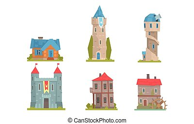 Collection of towers and historic buildings. Vector illustration.