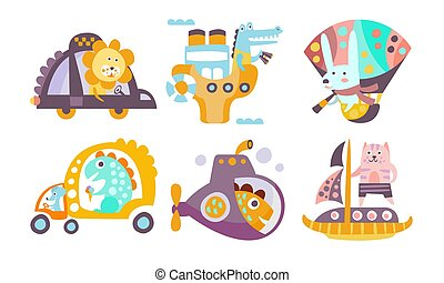 Collection of Toy Transport with Cute Animals, Funny Dinosaur, Crocodile, Bunny, Lion, Cat Driving Various Types of Transport Vector Illustration