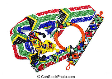 Collection of Traditional Colorful Zulu Beadwork - ...