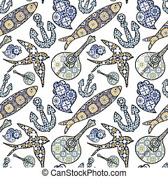 Collection of traditional Portuguese icons in seamless pattern. Colored sardines, anchor, swallow, portuguese guitar and Viana's heart with typical Portuguese tiles patterns. Vector illustration
