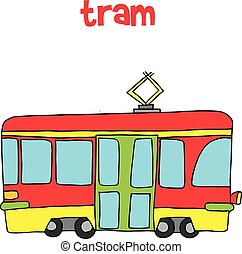 Collection of tram vector art
