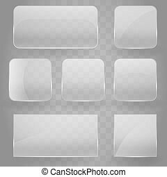Collection of transparent reflecting square glass banners with rounded corners and gloss reflection effect. Vector illustration icons set. Glass glare square banner