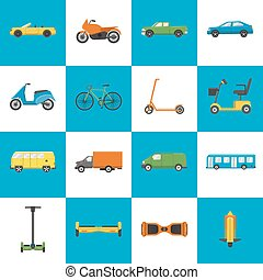 Collection of transport icons in flat style