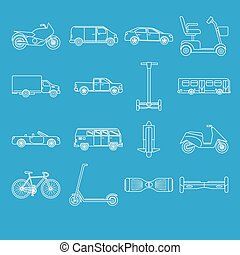 Collection of transport icons in line style
