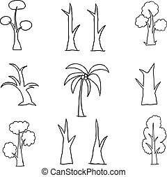 Collection of tree set hand draw