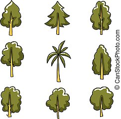 Collection of tree set vector art