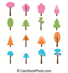 Collection of trees icons set. Seasons theme winter, spring, summer and autumn trees.eps