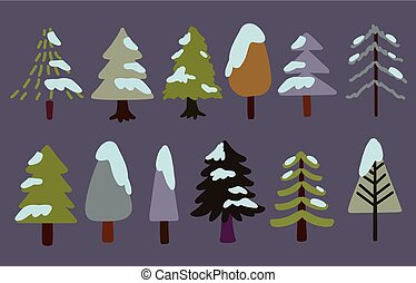 Collection of trees in dark colors