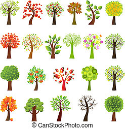 Collection Of Trees, Isolated On White Background, Vector...