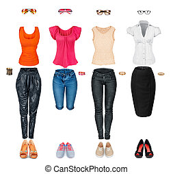 collection of trendy clothes isolated on white
