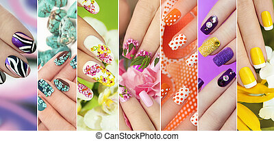 Collection of trendy colorful various manicure . -...