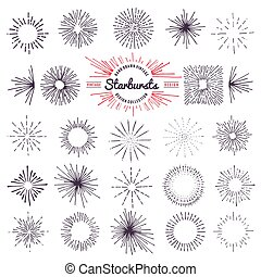 Collection of trendy hand drawn retro sunburst. Bursting rays design elements