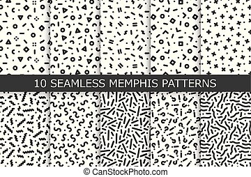 Collection of trendy seamless patterns - memphis design. Fashion 80-90s. Black and white mosaic textures.