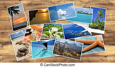 collection of tropical images on wooden table