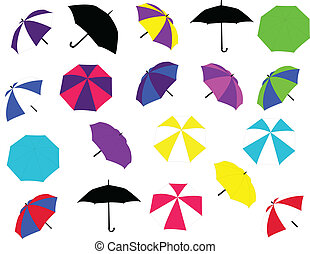 Collection of umbrellas