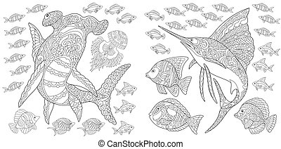 Collection of underwater animals - Ocean panorama....