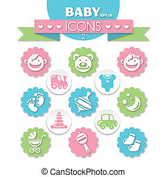 collection of universal baby icons, eps10 vector...