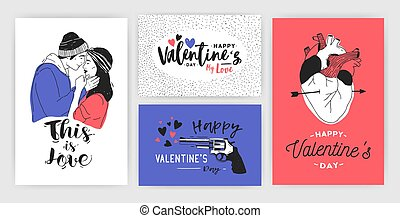 Collection of Valentine s day greeting card, party invitation or flyer templates with hand drawn kissing young couple, anatomical heart and inscriptions. Colorful trendy festive vector illustration.