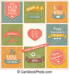 Valentine's day vintage labels