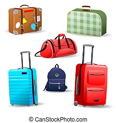 Collection of various bags, travel suitcase