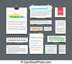 Collection of various blank white paper with text and highlighter strokes
