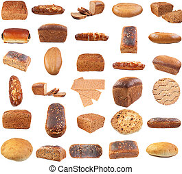 Collection of various bread . Isolated over white background...