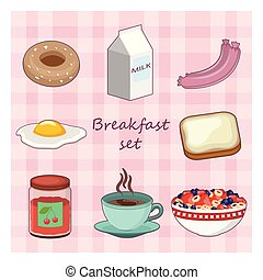 Collection of various breakfast food items