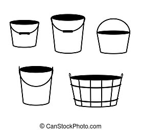 Collection of various buckets on a white background. Vector