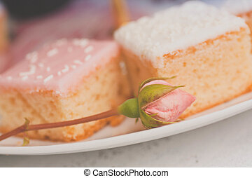 collection of various cakes on white background. - Vintage...