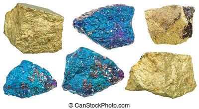 collection of various chalcopyrite mineral stones