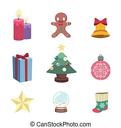 Collection of various christmas elements